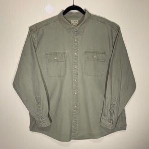 Long Sleeve Canvas Button Down Shirt